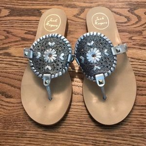 Jack Rogers Georgica Silver Sandal Size 9M